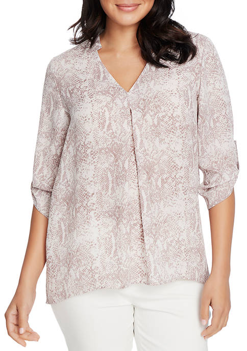 CHAUS Womens Roll Tab Snake Print Blouse