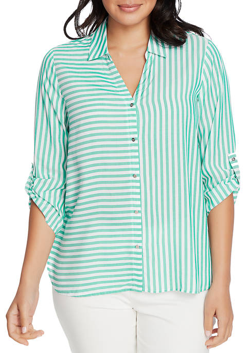 CHAUS Womens Roll Tab Stripe Button Up Shirt