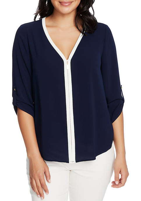 CHAUS Womens 3/4 Sleeve Roll Tab V-Neck Blouse