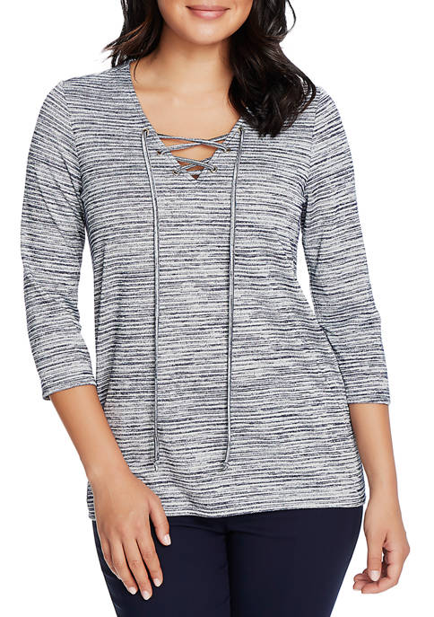 Womens 3/4 Sleeve Lace Up Space Dye Top