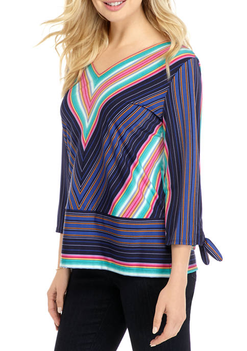 CHAUS Womens Tie Sleeve Striped Wrap Top