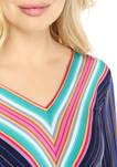 Womens Tie Sleeve Striped Wrap Top