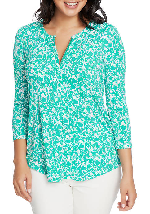 CHAUS Womens 3/4 Sleeve Split Neck Floral Top