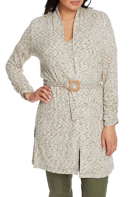 Womens Ruched Knit Cardigan