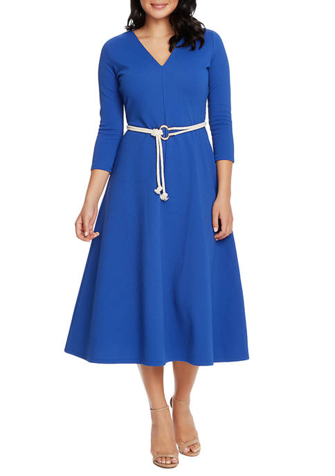 CHAUS Womens 3/4 Sleeve V-Neck Dress with Belt
