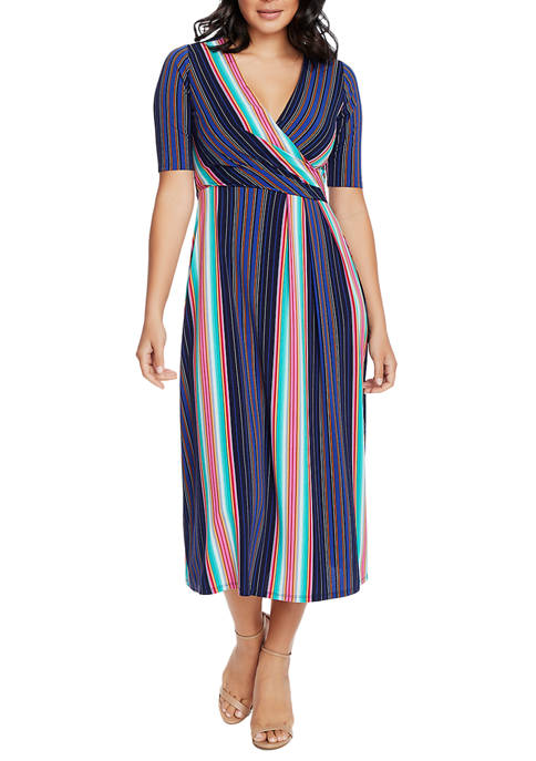 CHAUS Womens Laura Striped Wrap Dress