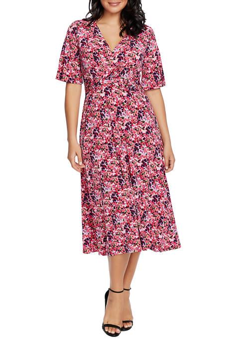 CHAUS Womens Flutter Sleeve Knot Front Pansies Dress