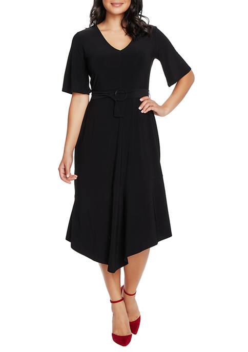 Womens Flutter Sleeve Asymmetrical Dress