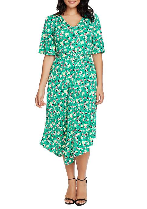 CHAUS Womens Flutter Sleeve Garden Sprig Asymmetric Dress