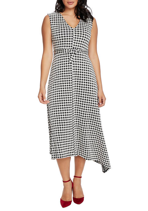 CHAUS Womens Cap Sleeve Check Tie Waist Dress
