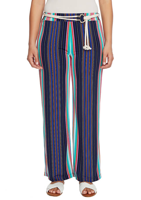 CHAUS Womens Striped Pants with Belt