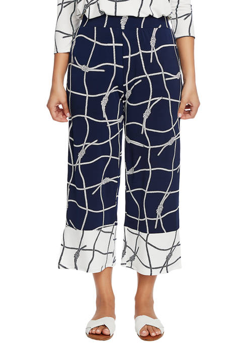 CHAUS Womens Color Block Nautical Rope Pants