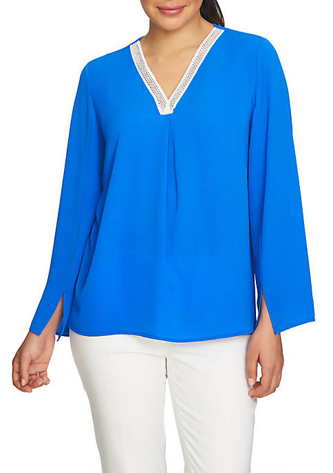 CHAUS Bell Sleeve V-Neck Blouse With Trim