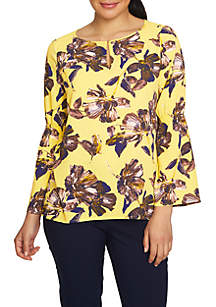 Bell Sleeve Glossy Floral Keyhole Blouse