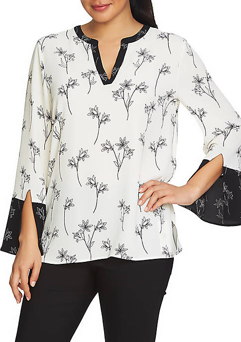 CHAUS Bell Sleeve Floral Split Neck Blouse
