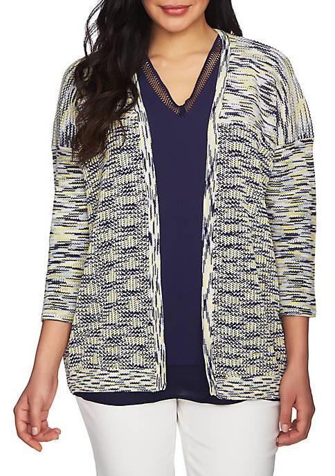 Three-Quarter Sleeve Space Dye Cardigan