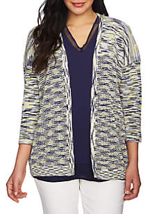 Three-Quarter Sleeve Space Dye Cardigan