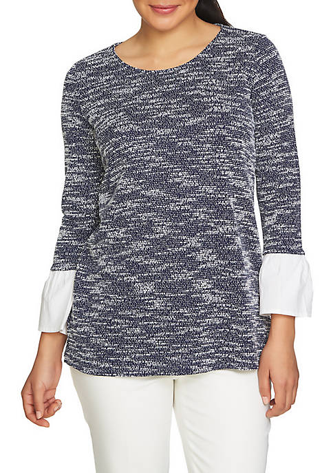 CHAUS Poplin Trim Long Sleeve Textured Knit Top