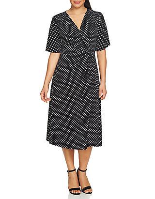 ffad16c376f CHAUS Flutter Sleeve Dot Print Knot Front Dress