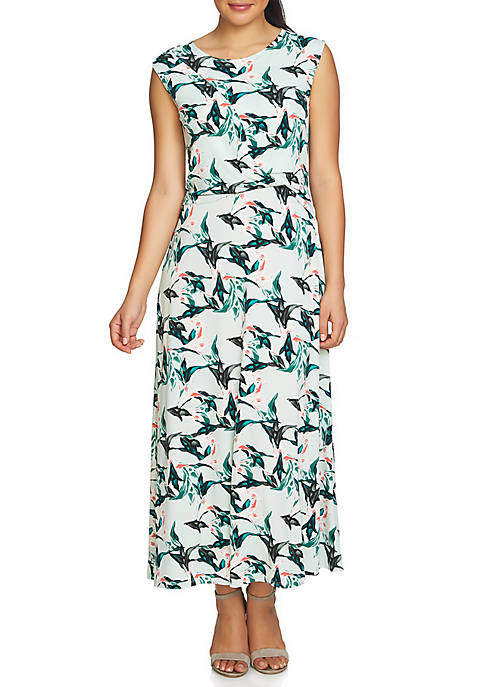 CHAUS Cap Sleeve Knot Front Rainforest Maxi Dress