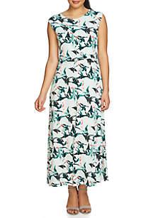 Cap Sleeve Knot Front Rainforest Maxi Dress
