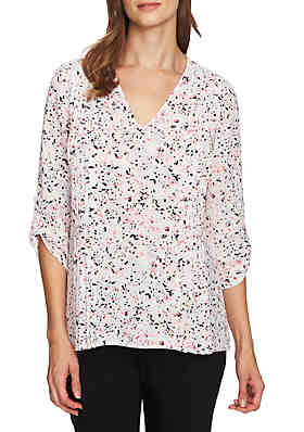 1bcca31e8633f2 CHAUS Roll-Tab V-Neck Speckled Pintuck Blouse ...