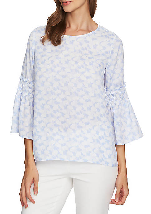 CHAUS Bell Sleeve Ginkgo Overlay Blouse