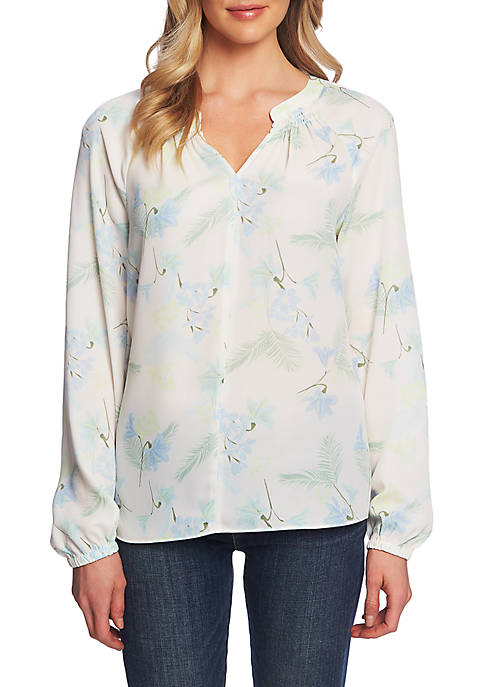 CHAUS Smock Neck Hibiscus Blouse