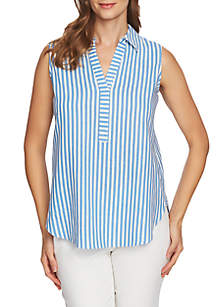 CHAUS Striped Sleeveless Shirt