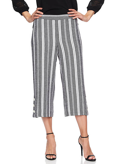 CHAUS Linen Stripe Wide Leg Crop Pants