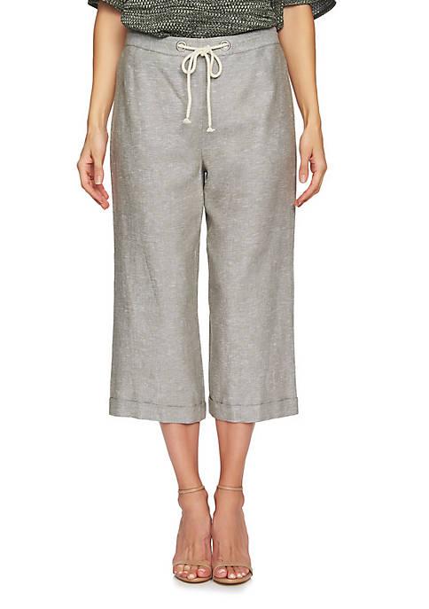 CHAUS 2 Tone Linen Crop Pants