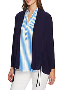 CHAUS Long Sleeve Ruched Knit Cardigan