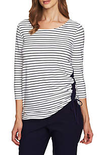 CHAUS Chaus Marina Stripe Ruched Top