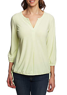 CHAUS Side Tie Split Neck Top