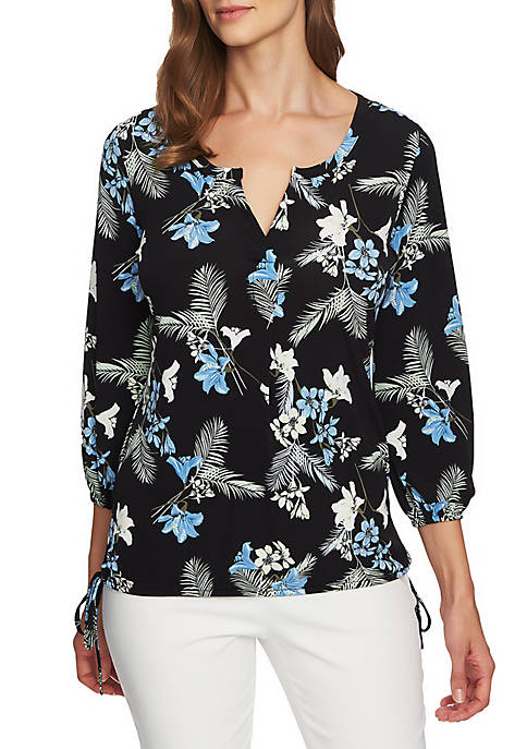 CHAUS Tropical Oasis Side Tie Blouse