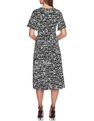 da83f8ac7db ... CHAUS Flutter Sleeve Texture Print V-Neck Dress ...