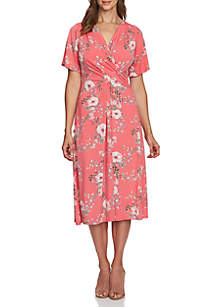8522bbdbad5d Kim Rogers® Printed Bell Sleeve Dress · CHAUS Secret Garden V Neck Dress