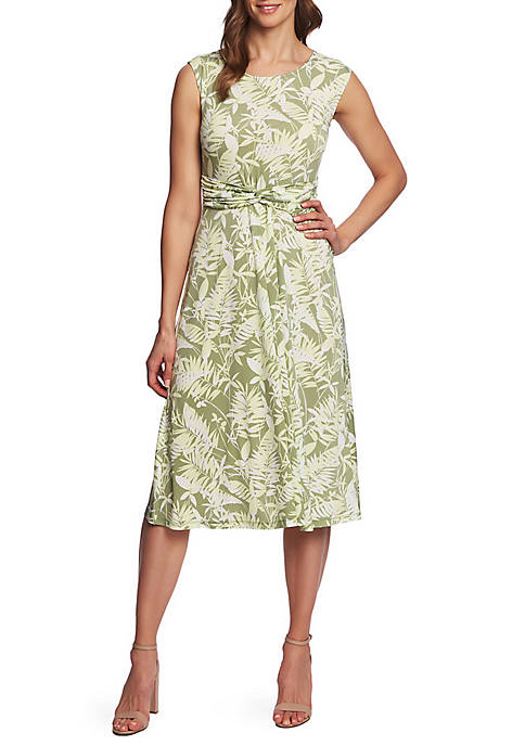 Cap Sleeve Tropical Foliage Dress