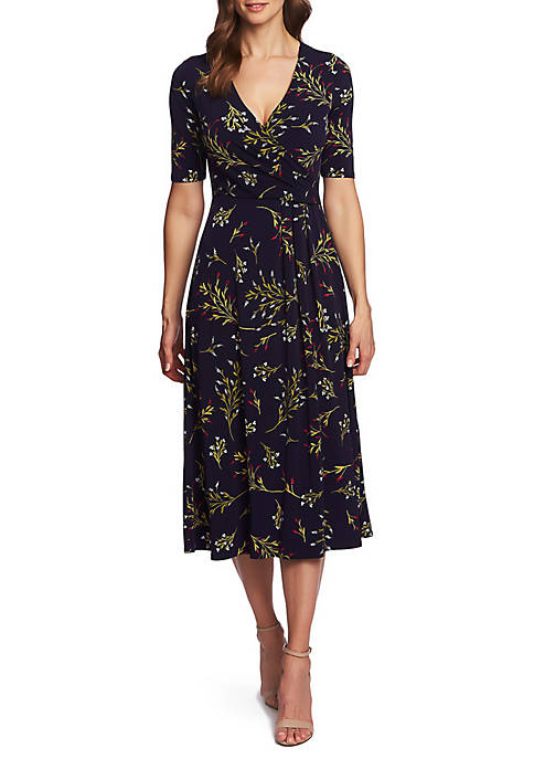 Elbow Sleeve Trailing Bouquet Wrap Dress