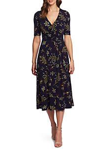 cdb28b7396c ... CHAUS Elbow Sleeve Trailing Bouquet Wrap Dress