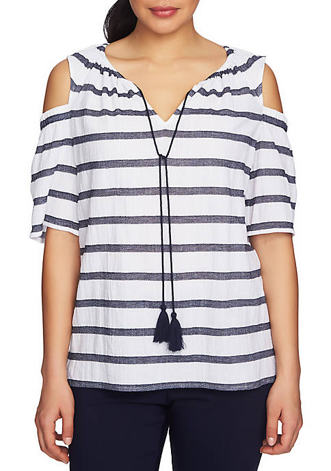 CHAUS Cold Shoulder Gauze Striped Top