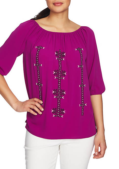 CHAUS 3/4 Sleeve Embroidered Blouse