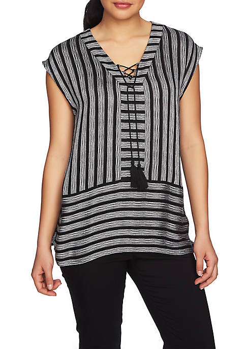 CHAUS Short Sleeve Shine Stripe V-Neck Blouse