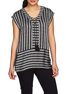 Short Sleeve Shine Stripe V-Neck Blouse