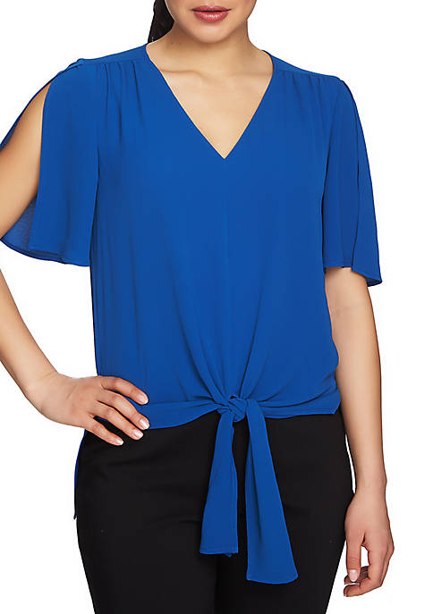 CHAUS Textured Terrain Short Sleeve Tie Front Blouse