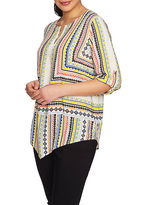 CHAUS Roll-Tab Geo Voyage Blouse