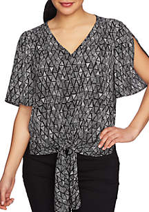 Short Sleeve Tie Front Vivid Triangle Blouse