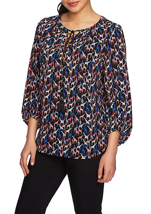 CHAUS 3/4 Slv Tie Neck Giraffe Flash Blouse