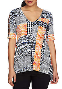 Patchwork Cut-Out Sleeve V-Neck Top