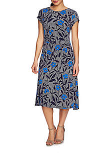 Short Sleeve Side Ruched Pacific Blooms Dress